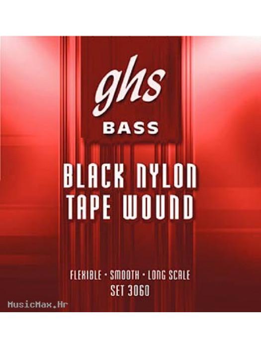 GHS 3060 - BASS GUITAR STRINGS, BLACK NYLON TAPE 50-105