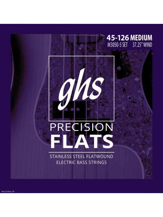 GHS M3050-5 BASS STRINGS FLATWOUND 45-126