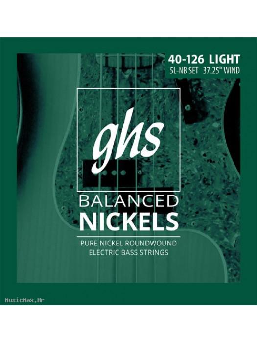 GHS 5L-NB- BASS GUITAR 5 STRINGS, BALANCE NICKELS 040-0126