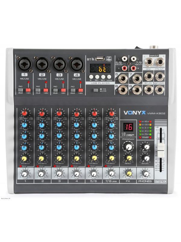VONYX VMM-K802 8 CHANNEL USB BT FX miks pult